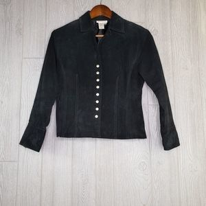 Coldwater Creek  Black Leather Button Up Coat